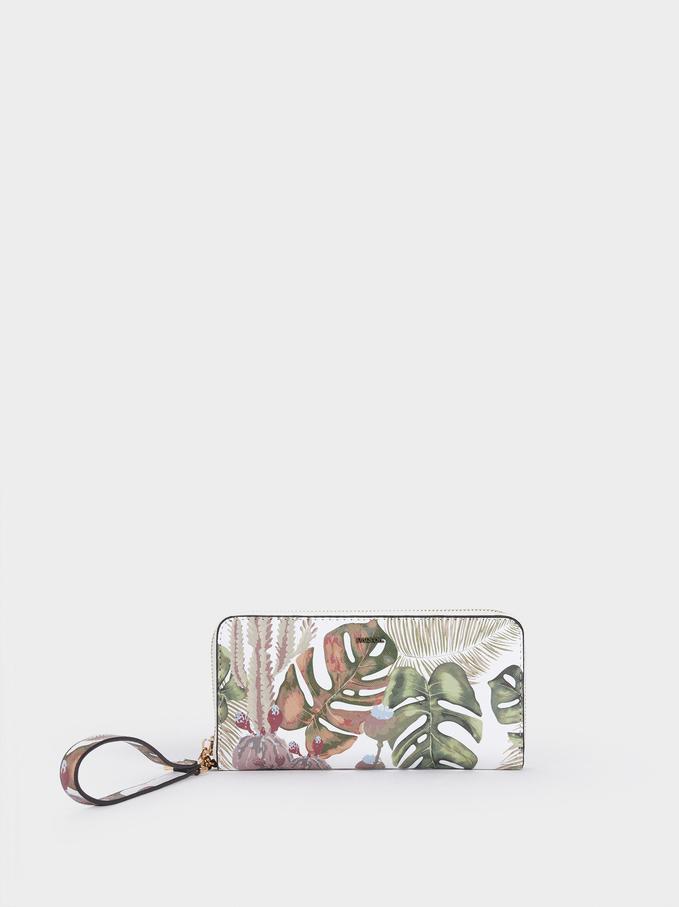 Floral Print Purse, Ecru, hi-res