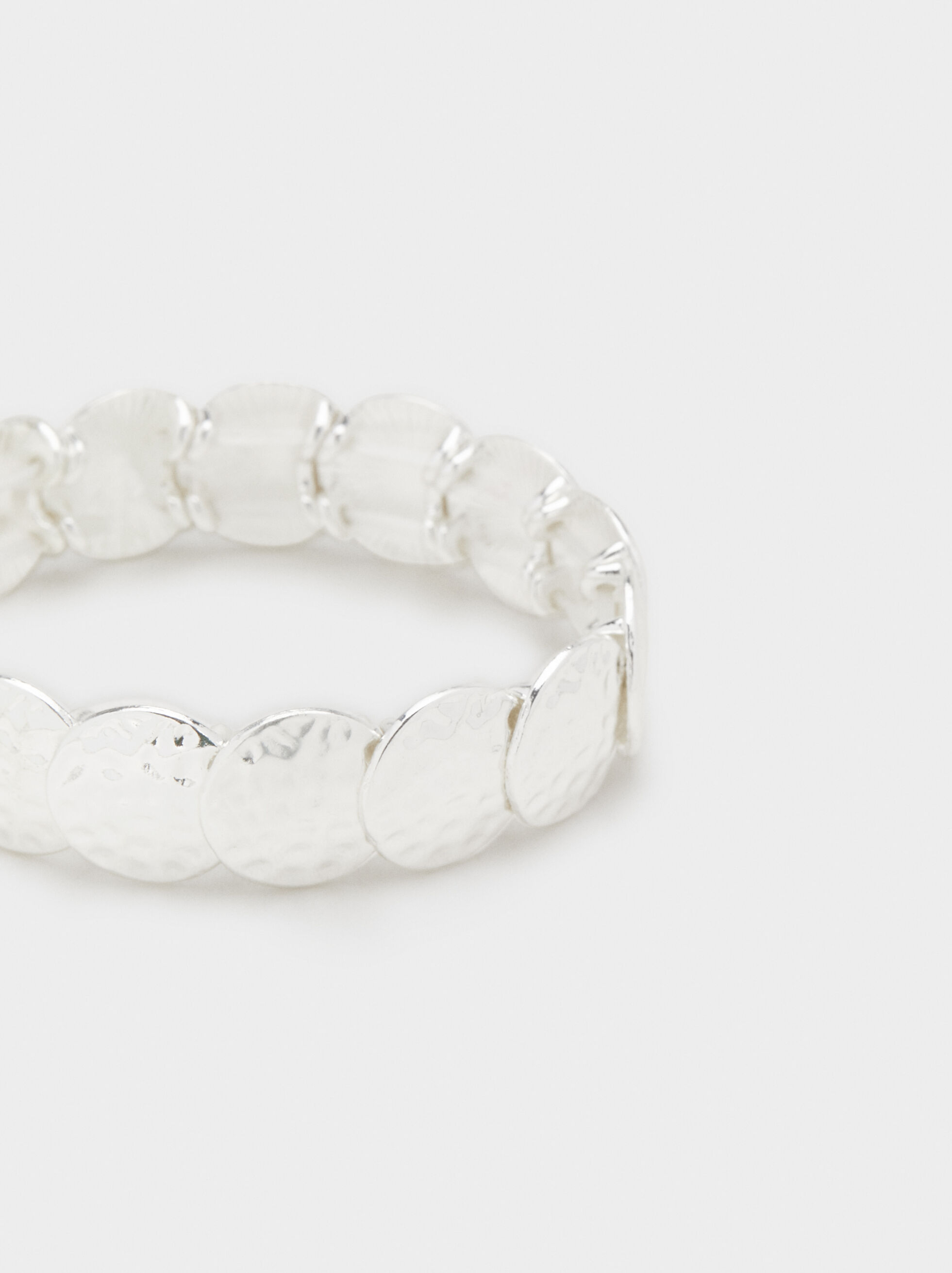 Elastic Bracelet With Circles, Silver, hi-res