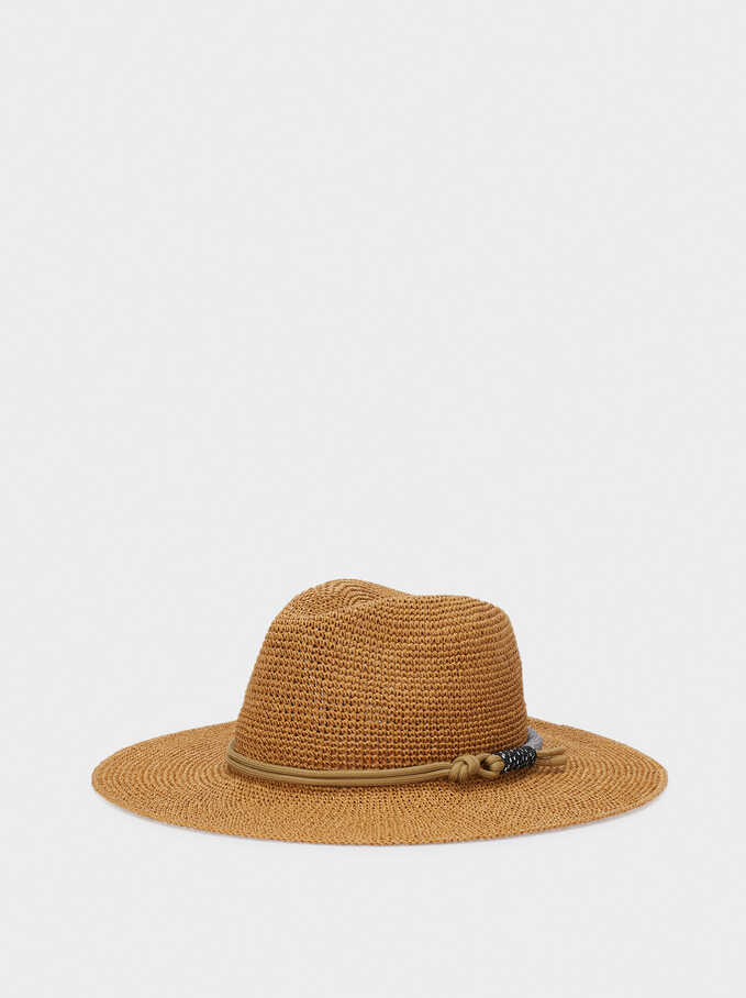 Woven Hat With Knot Band, Beige, hi-res