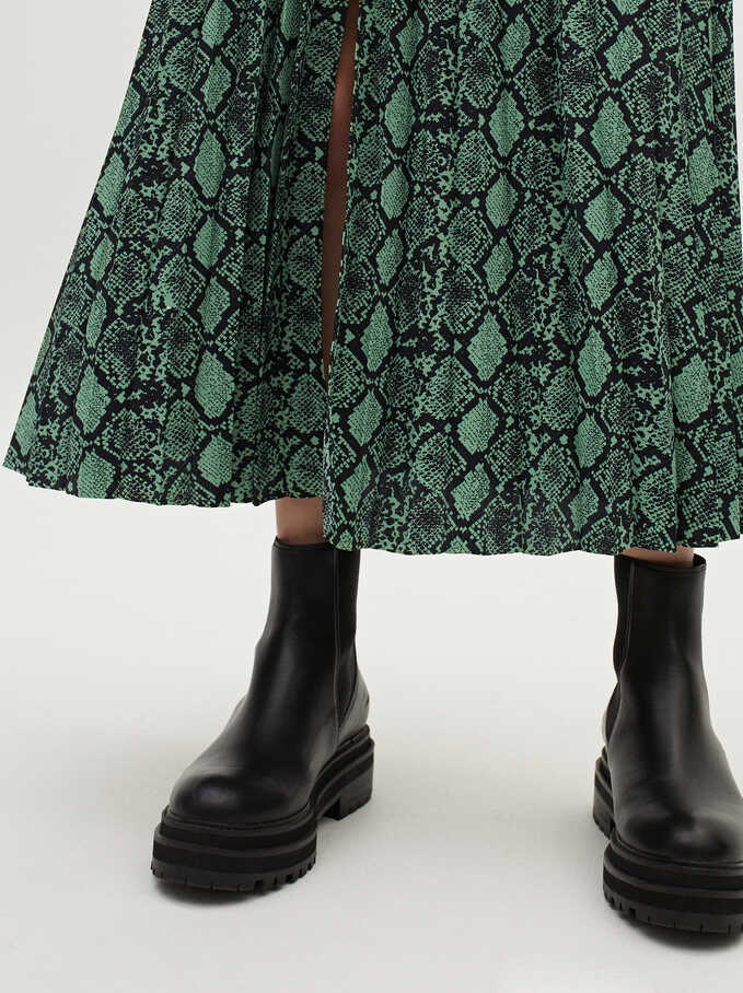 Snake Print Pleated Skirt, Green, hi-res