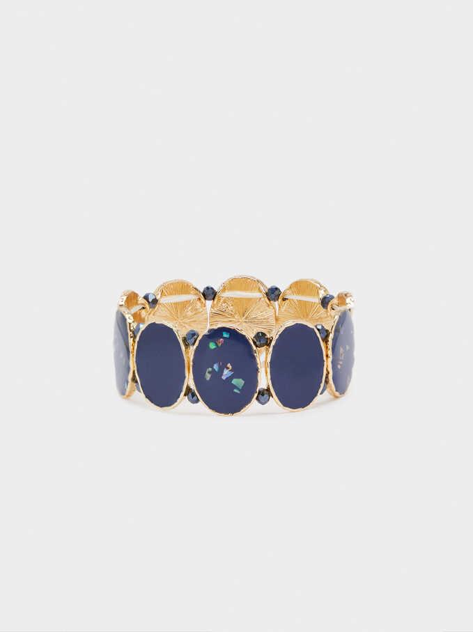 Enamel Elastic Bracelet, Navy, hi-res