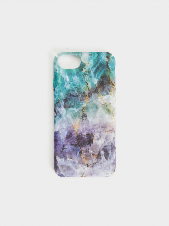 Marble-Effect Iphone 6/7/8 Case, Blue, hi-res