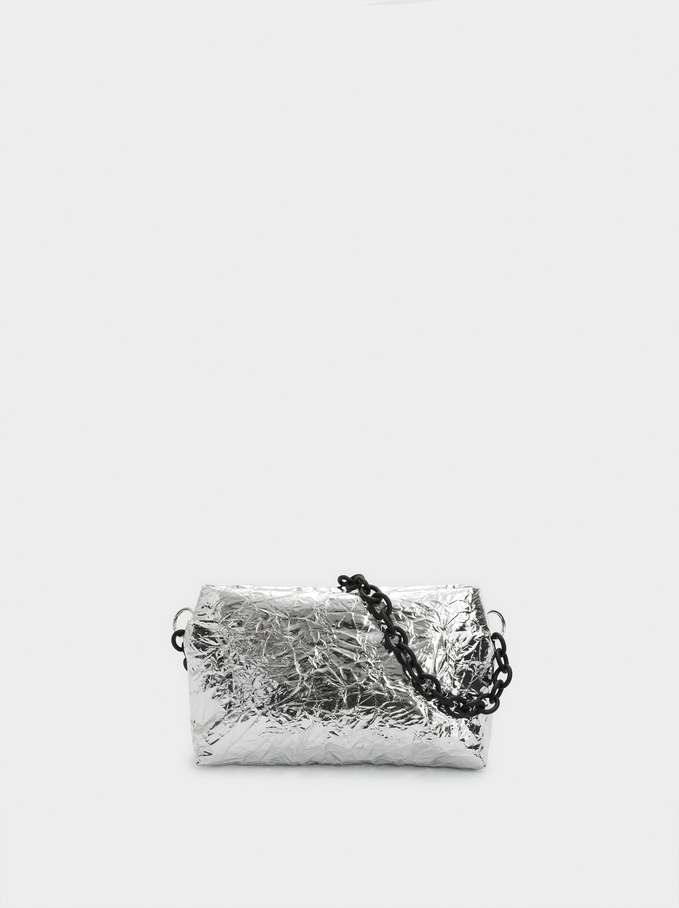 Bolso De Mano De Fiesta Metalizado, Plateado, hi-res