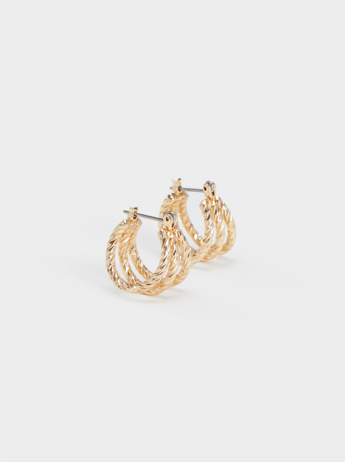 Hoop Fever Small Hoop Earrings , Golden, hi-res