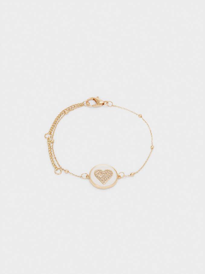 Bracelet Ajustable Cœur Avec Zircone, Doré, hi-res