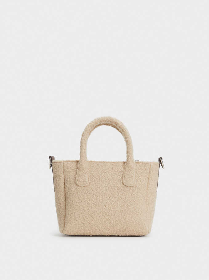 Faux Shearling Tote Bag, Brown, hi-res