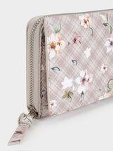 Large Floral Print Wallet, Ecru, hi-res