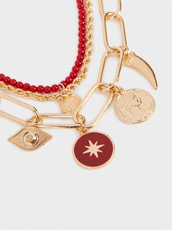 Hoop Fever Set Of Pendant Necklaces, Bordeaux, hi-res