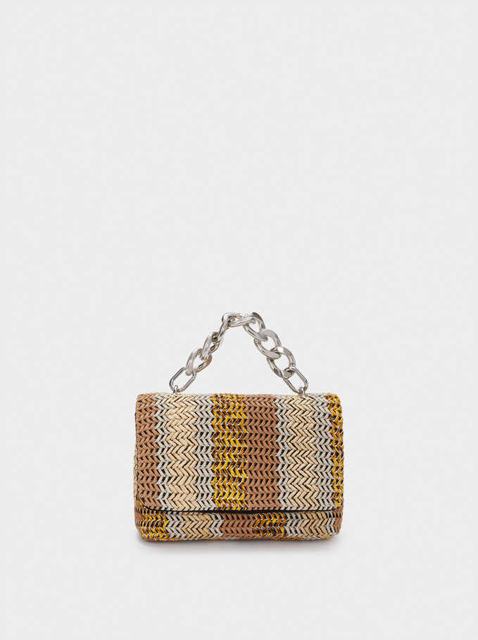 Contrast Crossbody Bag With Chain Strap, Beige, hi-res
