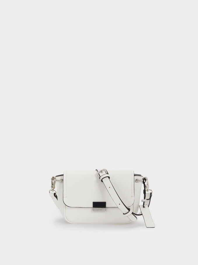 Crossbody Bag With Front Flap Fastening, White, hi-res