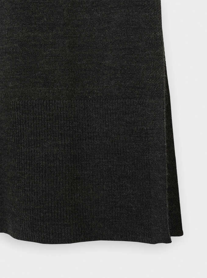 Knit Dress With Long Sleeves And A Round Neckline, Grey, hi-res