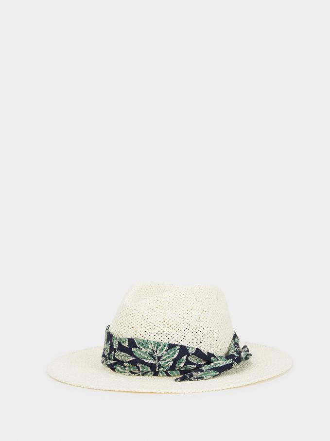 Raffia Texture Hat, Ecru, hi-res