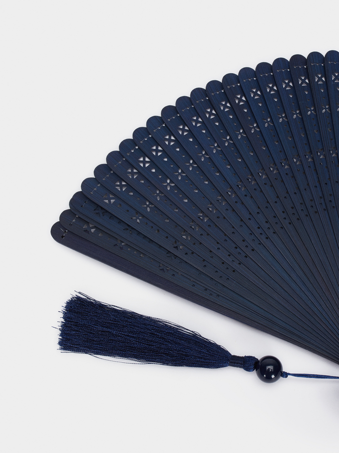Perforated Fan With Tassel, Blue, hi-res
