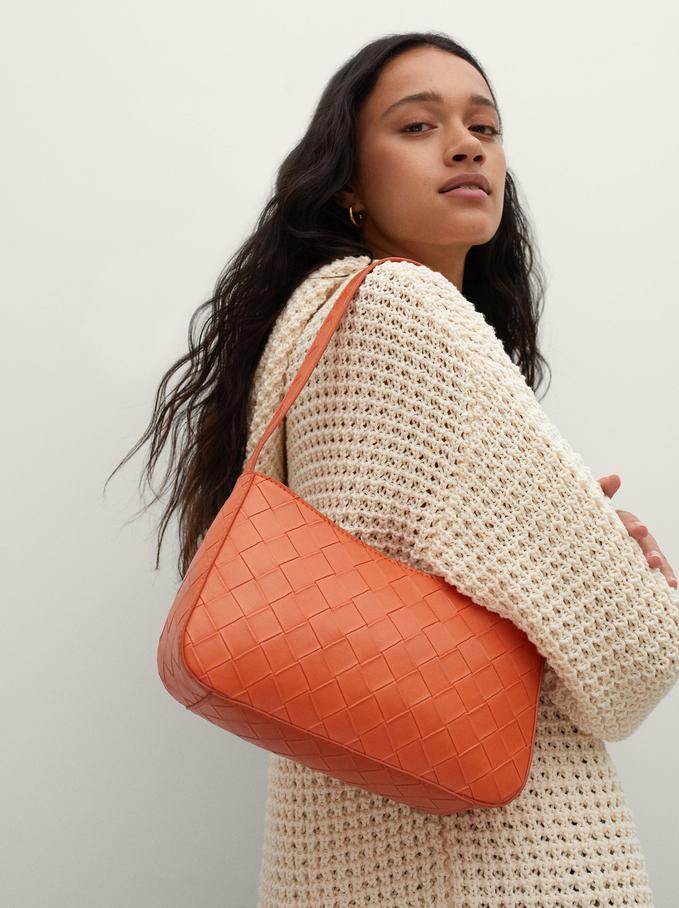 Braided Shoulder Bag, Orange, hi-res