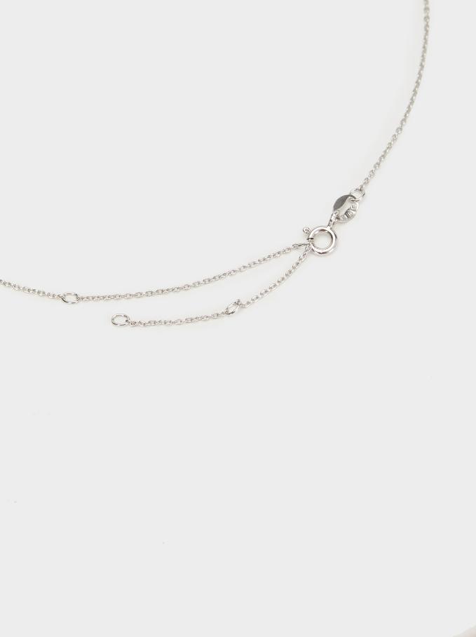 Silver 925 Short Leaf Necklace With Zirconia, Silver, hi-res