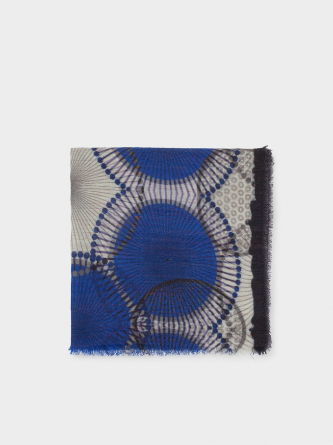 Printed Wool Scarf, Blue, hi-res