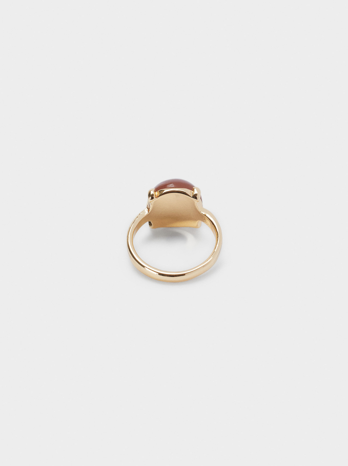 Ring With Bead, Brown, hi-res
