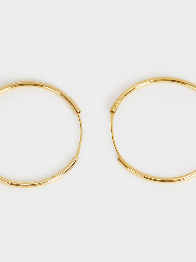 Short 925 Silver Hoop Earrings, Golden, hi-res