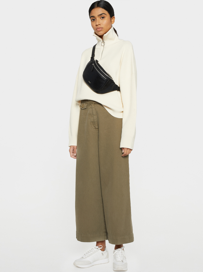 Wide-Leg Trousers With Pocket, Khaki, hi-res