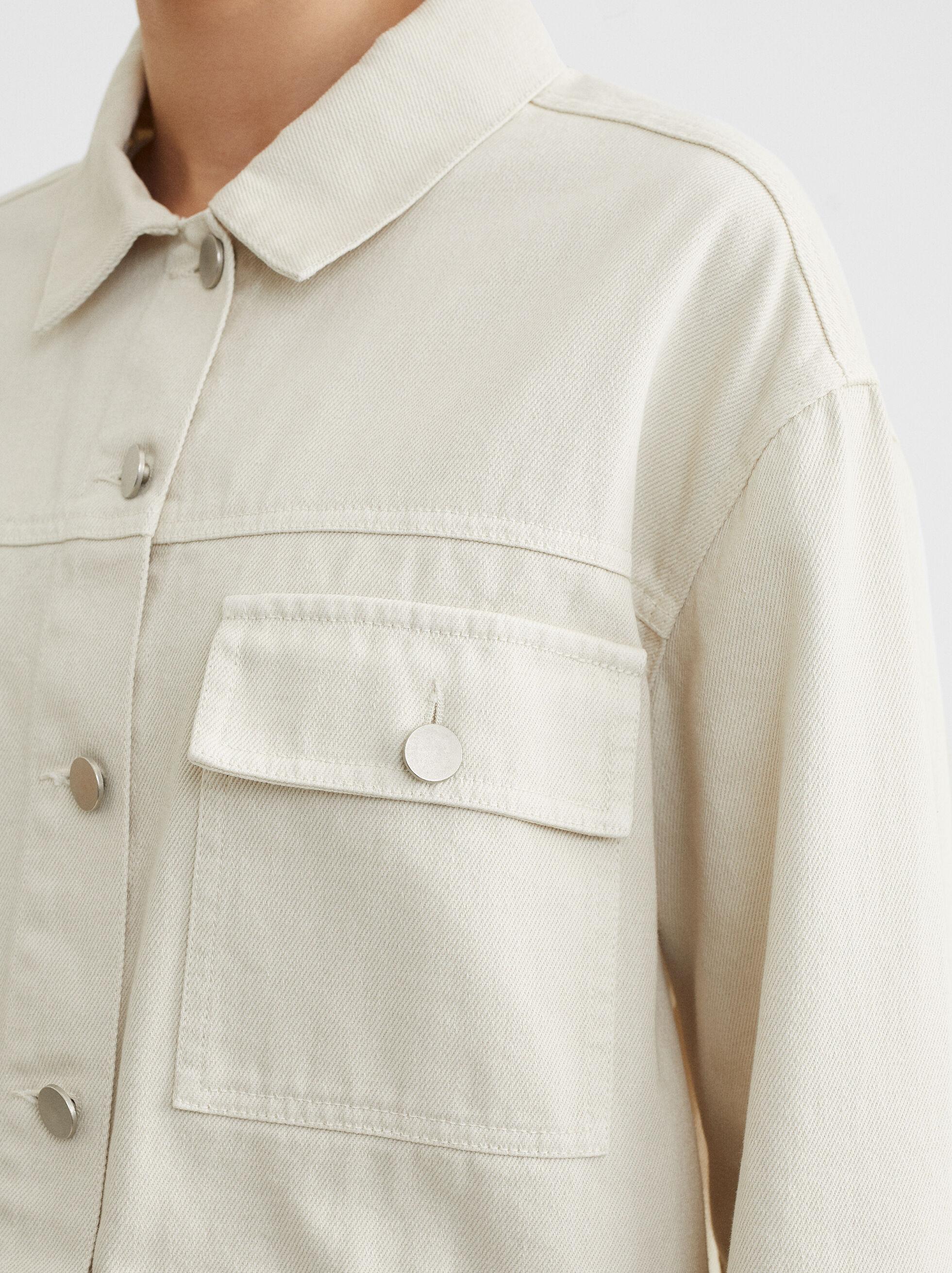 Short Denim Jacket, Ecru, hi-res