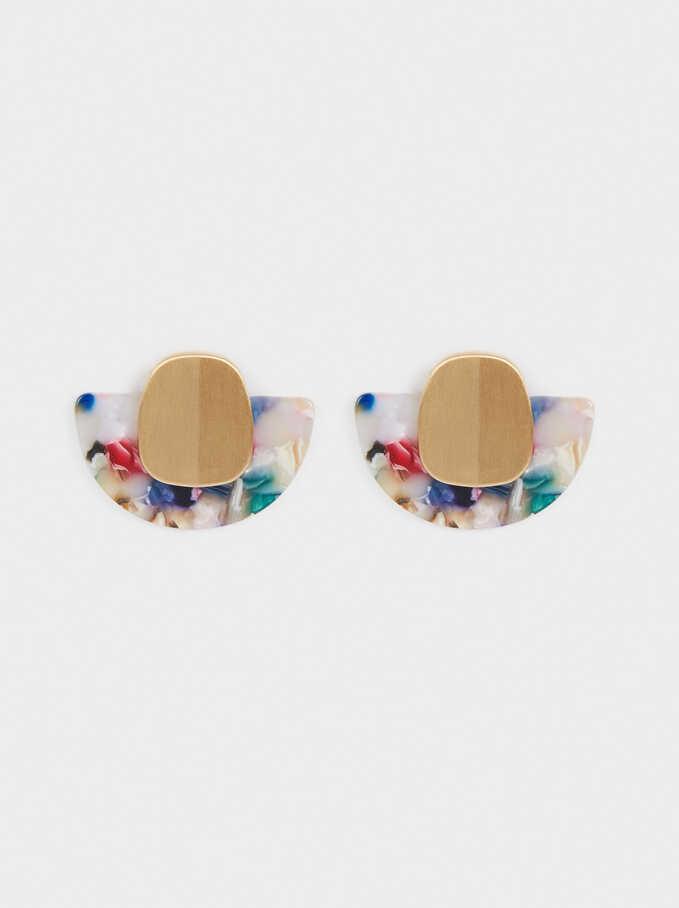 Short Geometric Earrings, Multicolor, hi-res