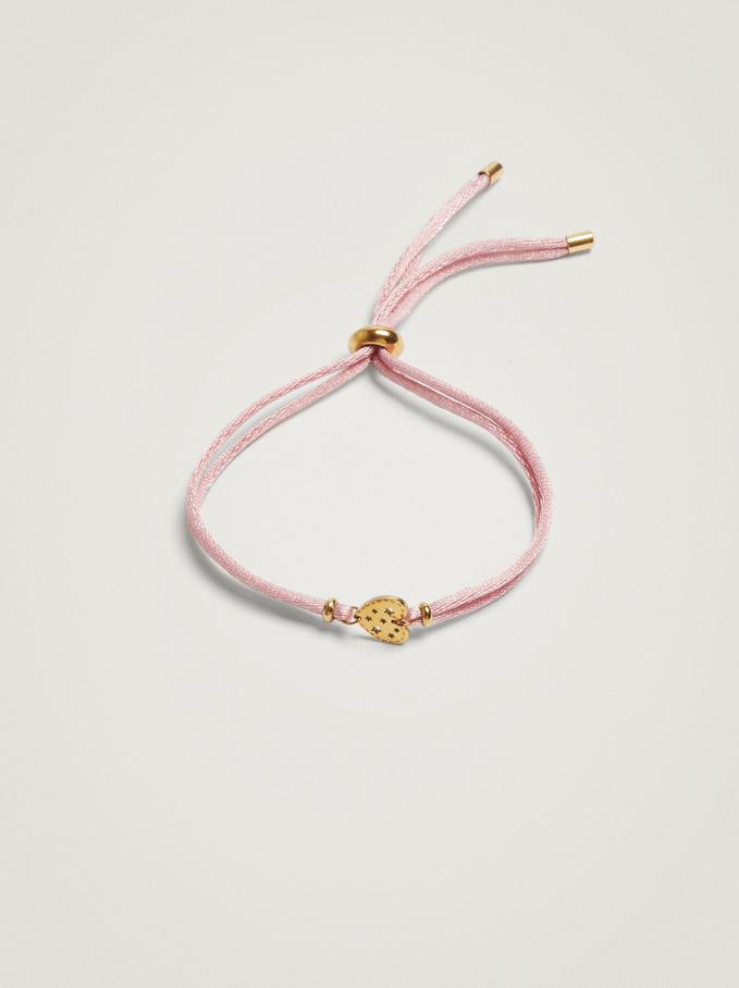 Adjustable Bracelet With Steel Heart, Pink, hi-res