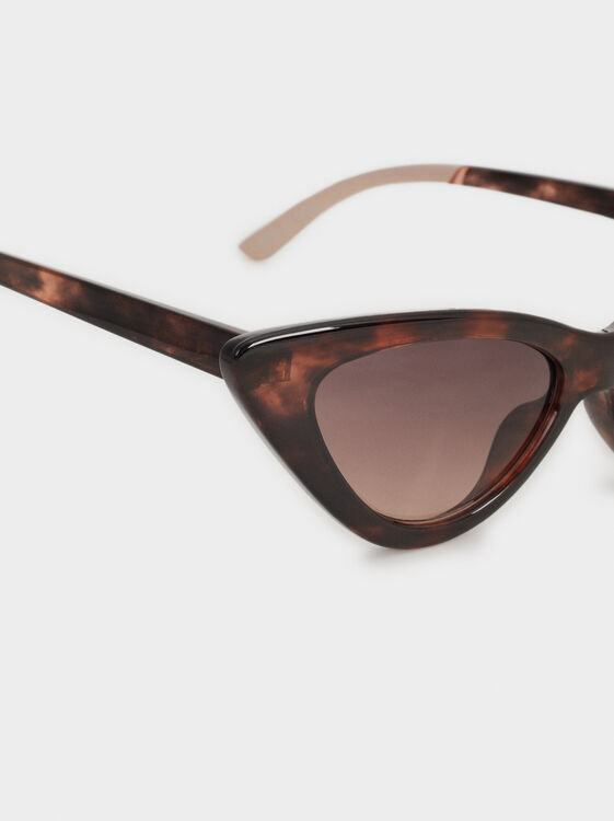 Cat-Eye Sunglasses, Brown, hi-res
