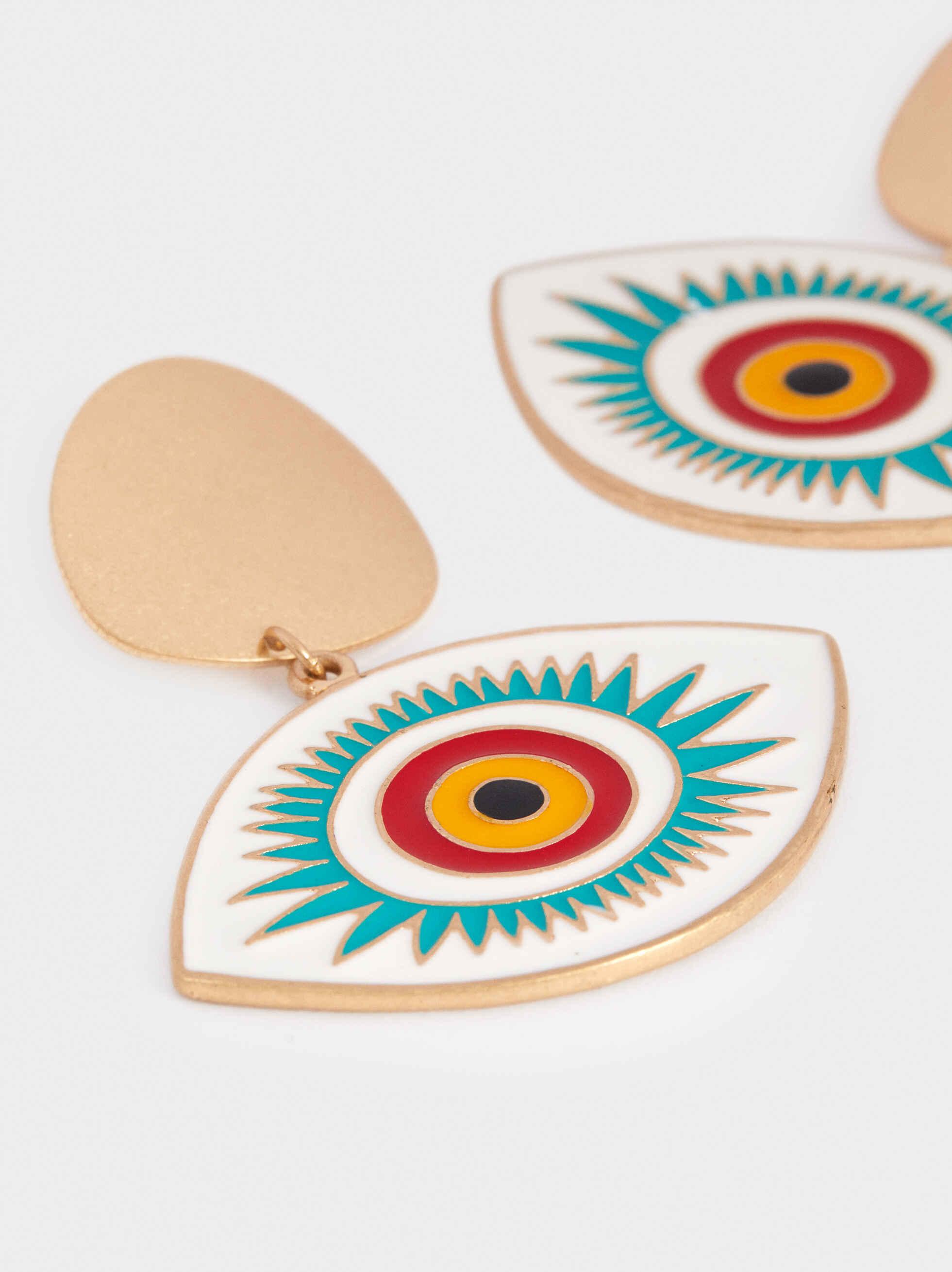 Long Eye Earrings, Multicolor, hi-res