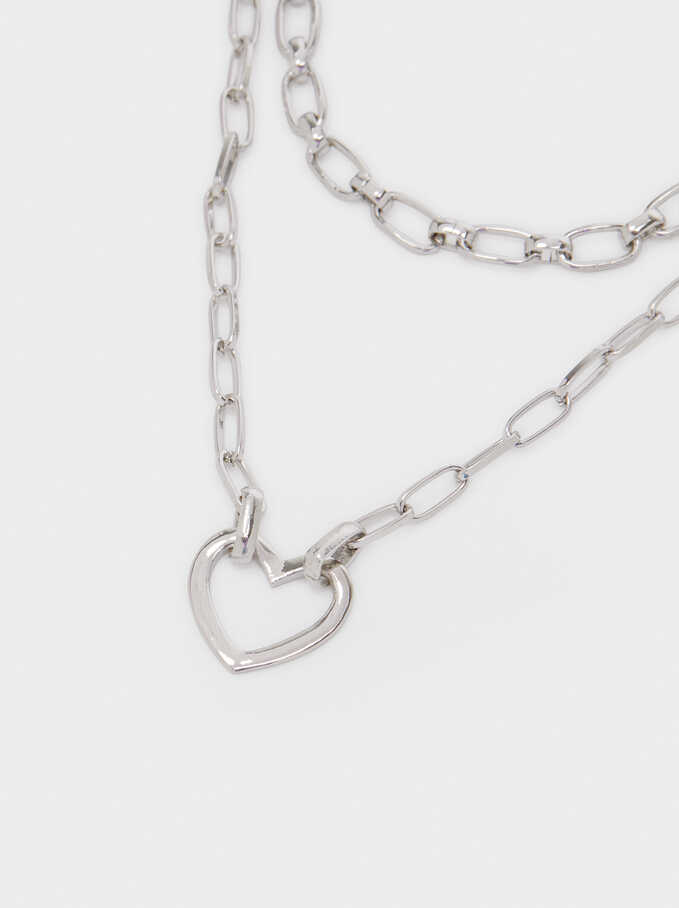 Short Heart Necklace, Silver, hi-res