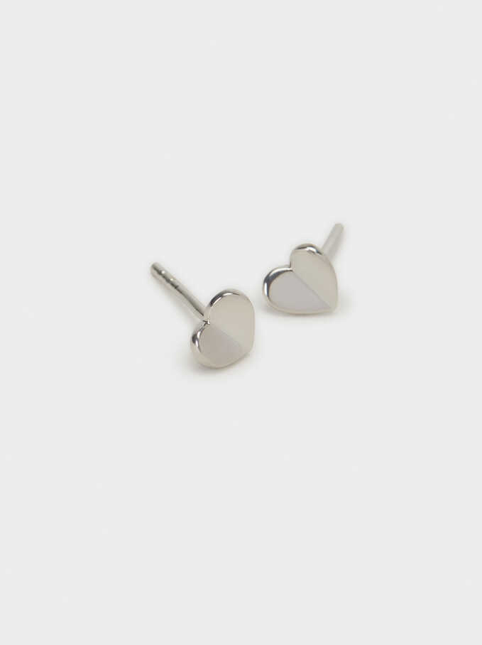 925 Silver Heart Stud Earrings, Silver, hi-res