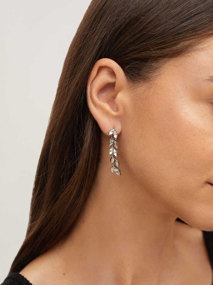 Earrings With Crystals, Silver, hi-res