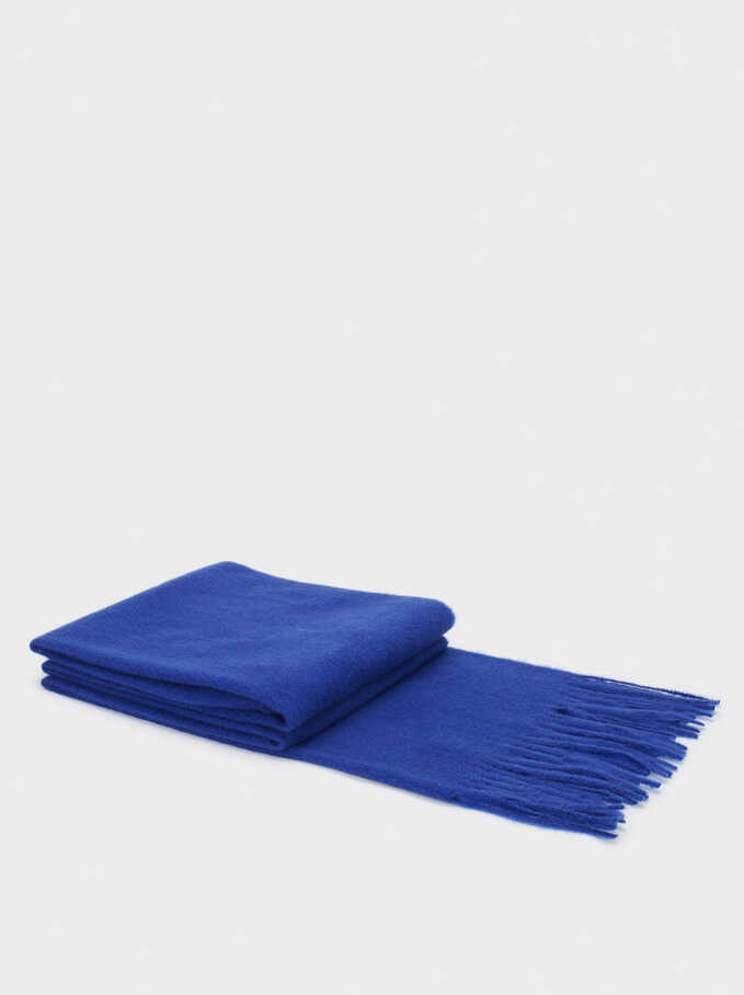 Maxi Scarf With Fringes, Blue, hi-res