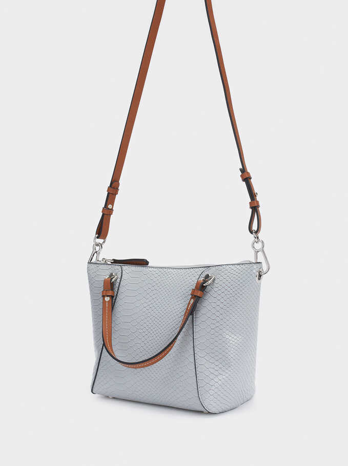 Embossed Animal Print Tote Bag With Removable Interior, Blue, hi-res