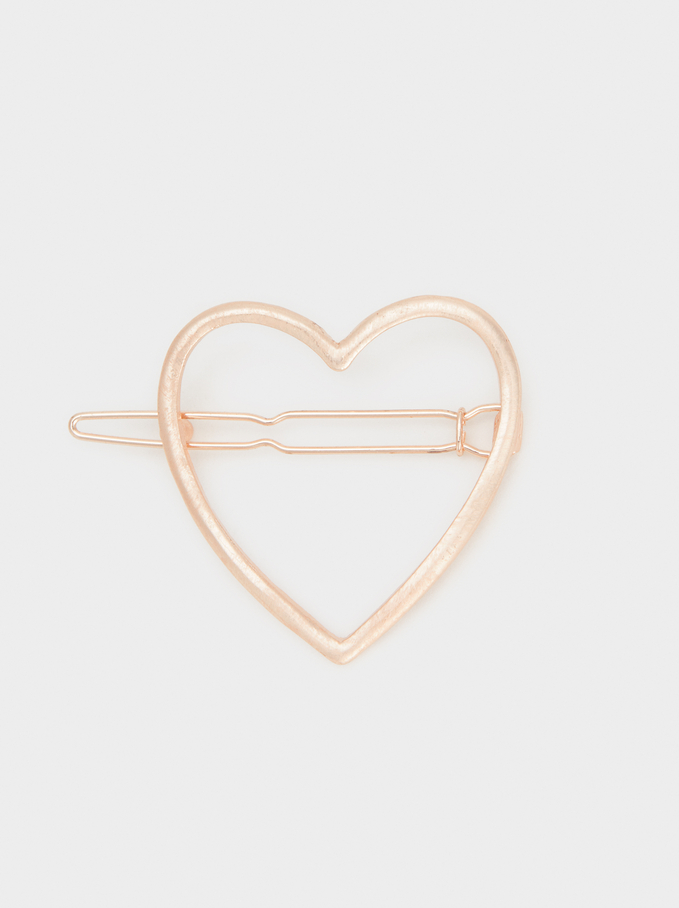 Heart Hairpin, Orange, hi-res