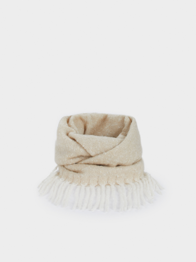 Snood À Franges, Beige, hi-res