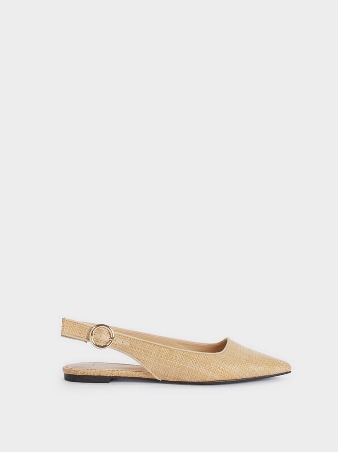 Chaussures Plates Sans Raphia, Beige, hi-res