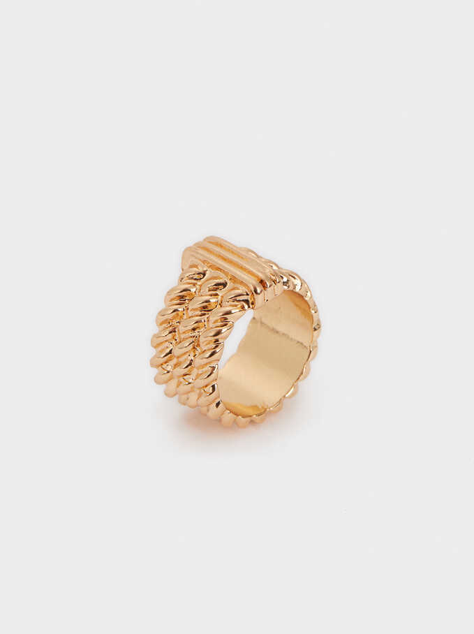 Gold-Toned Braided Ring, Golden, hi-res