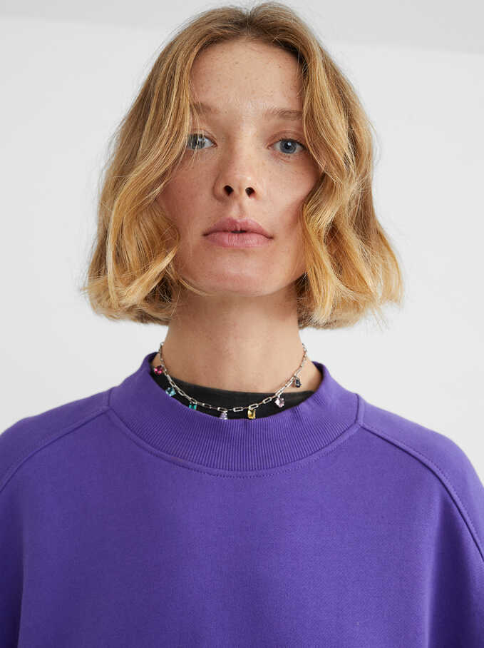 Plain Sweatshirt, Purple, hi-res