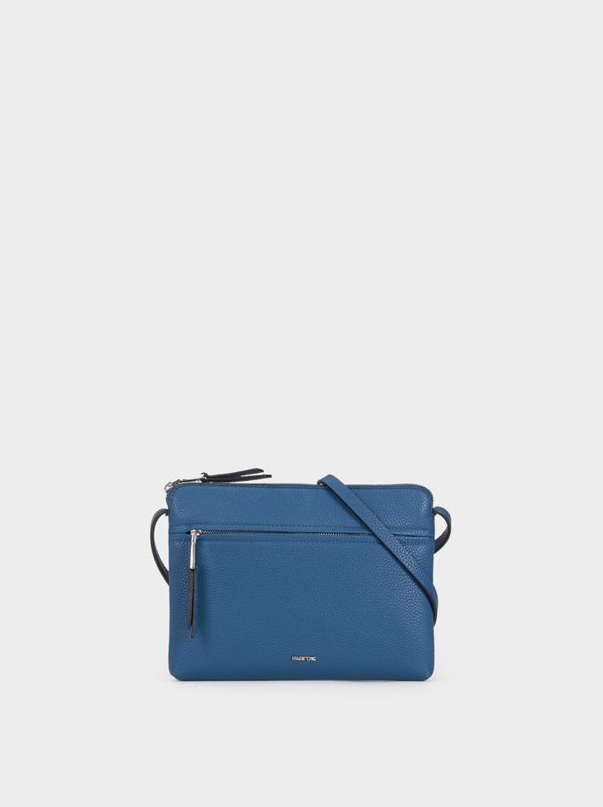 Plain Crossbody Bag, Blue, hi-res