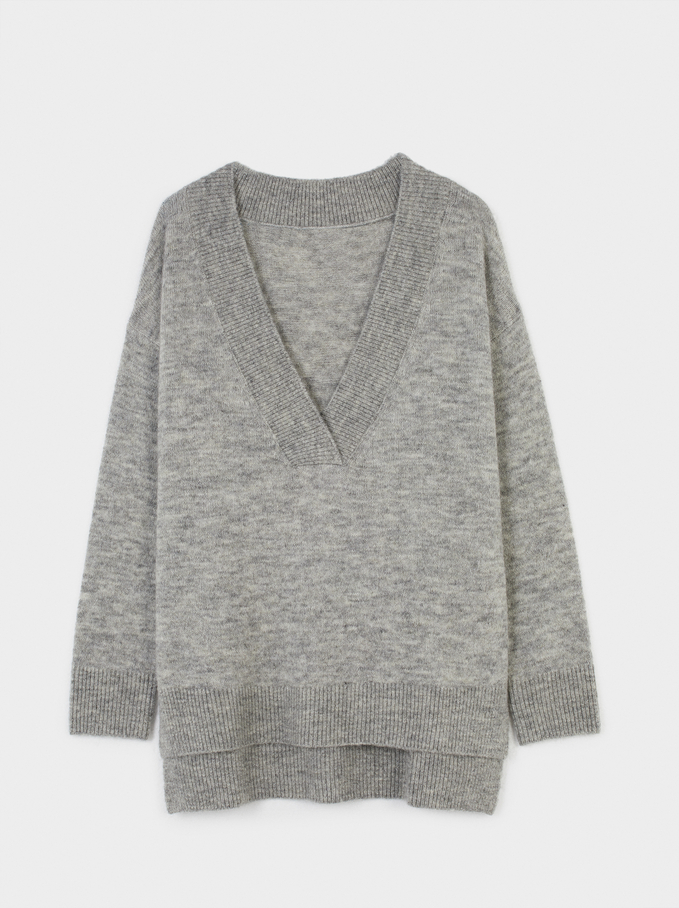 Knitted V-Neck Sweater, Grey, hi-res