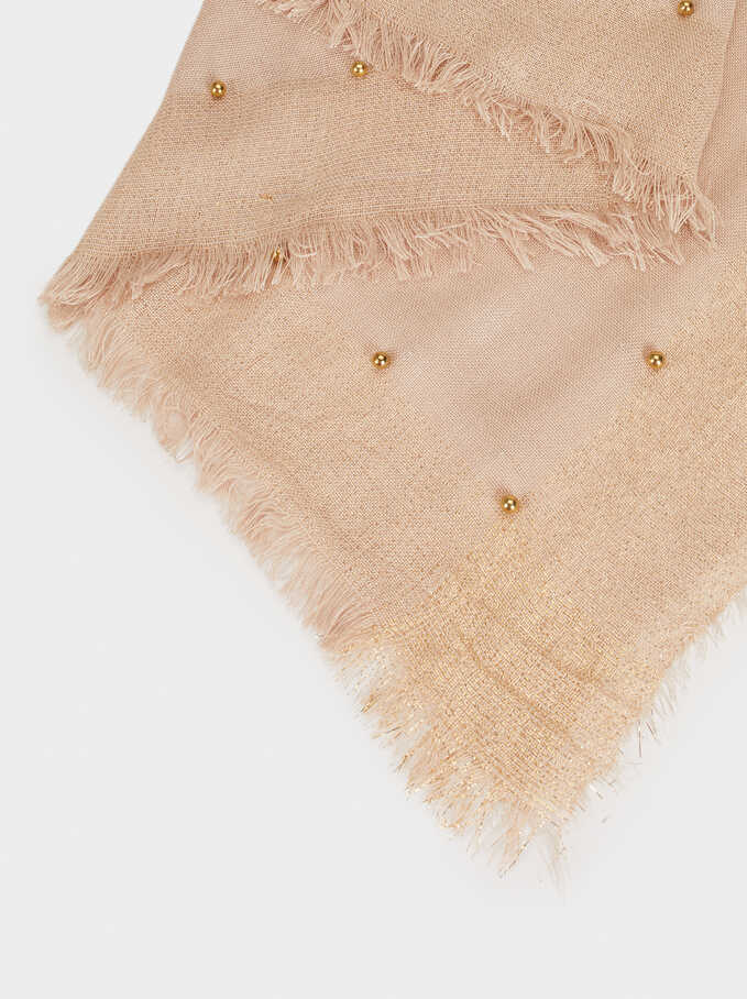 Scarf With Faux Pearls, Camel, hi-res