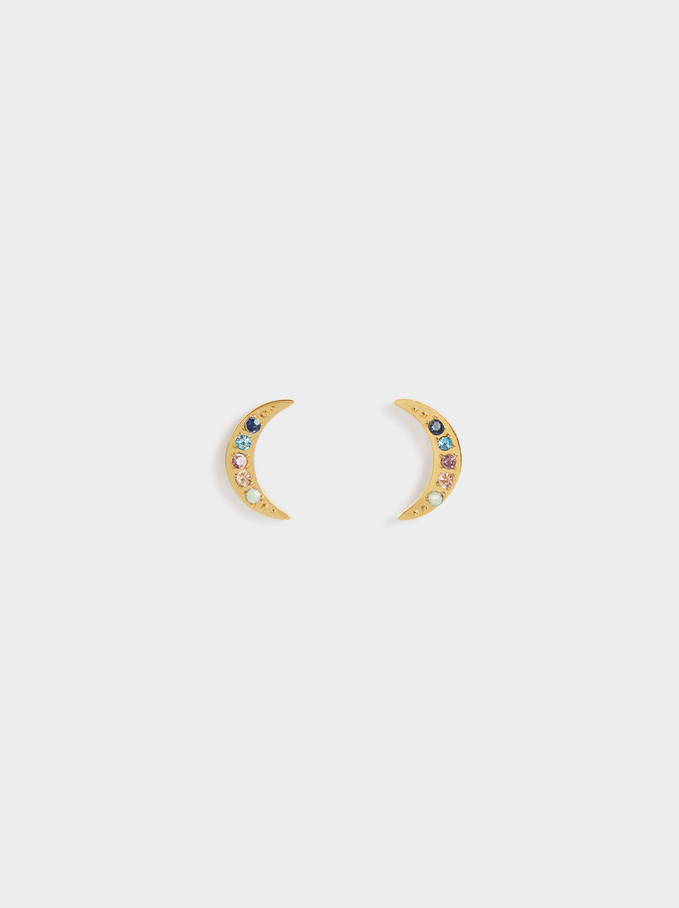 Short Stainless Steel Earrings With Crystals , Multicolor, hi-res