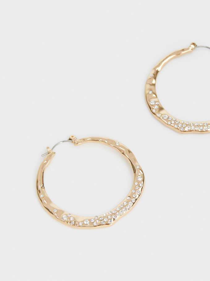 Medium Gold Hoop Earrings With Crystals, Golden, hi-res