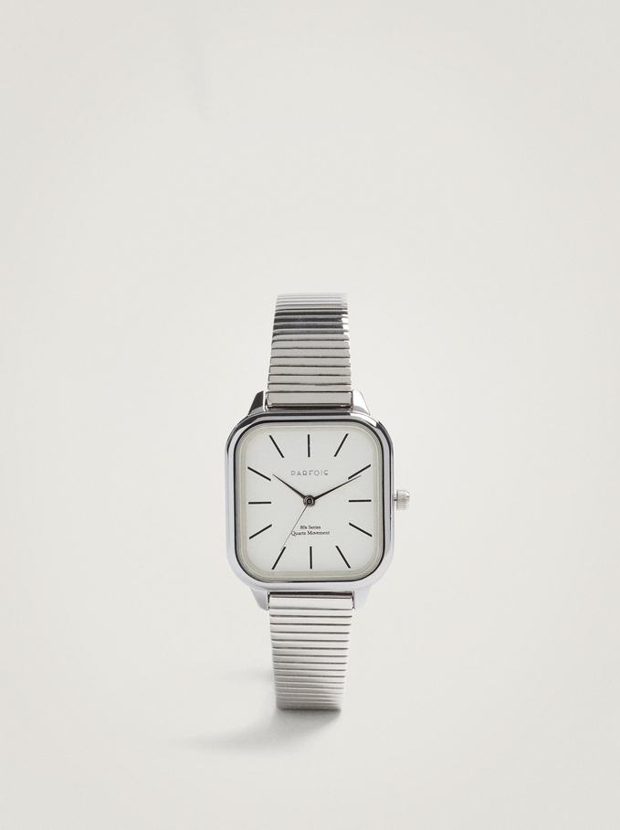 Square Case Stainless Steel Watch, Silver, hi-res