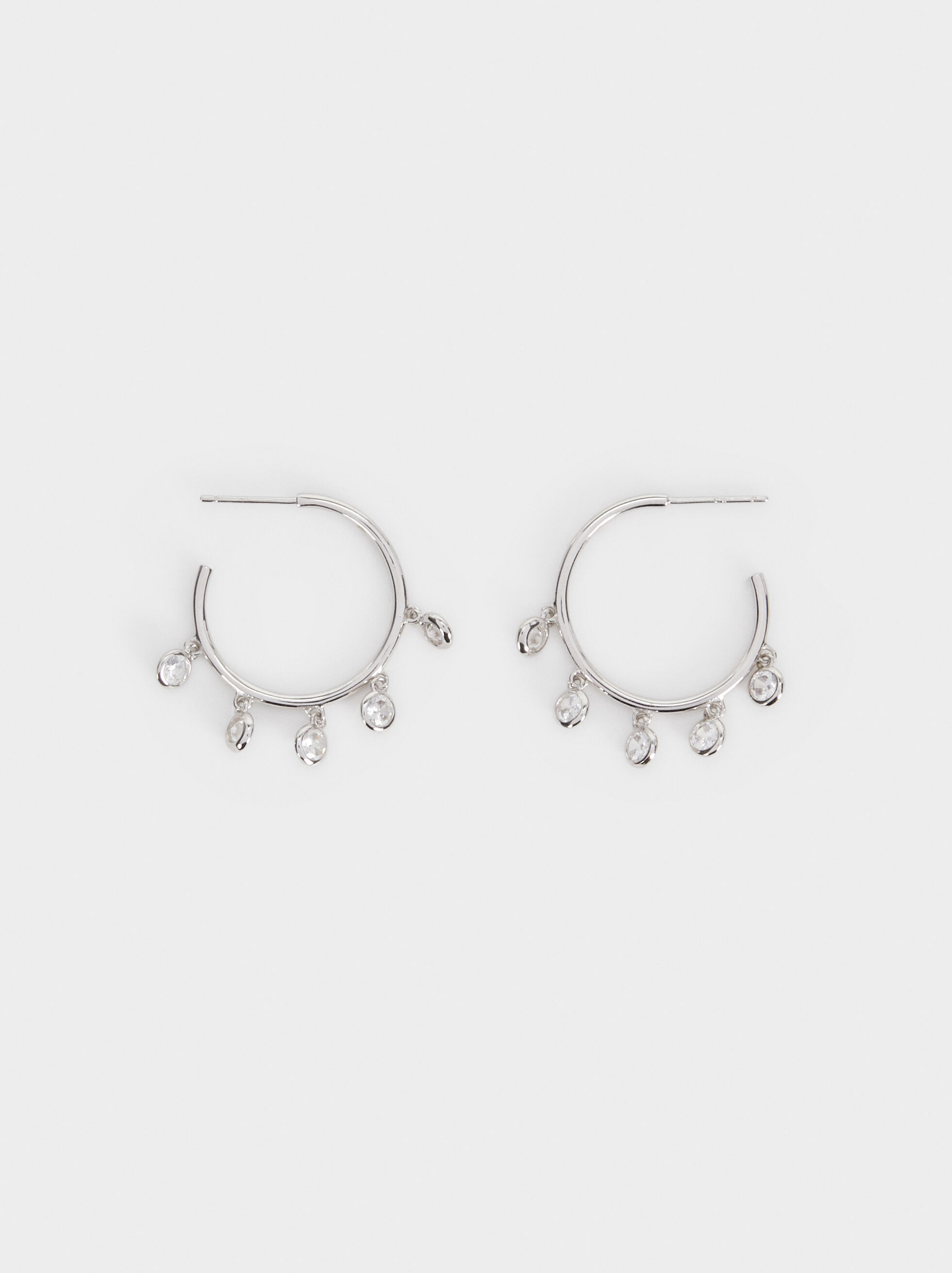 925 Silver Medium Hoop Earrings, Silver, hi-res