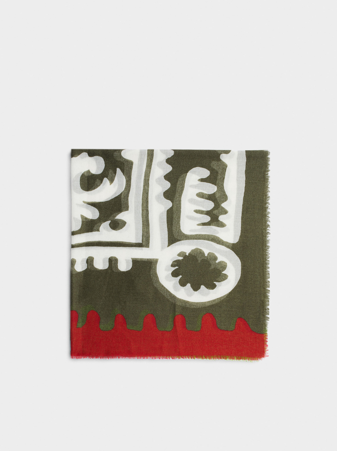 Printed Scarf Made From Recycled Materials, Khaki, hi-res