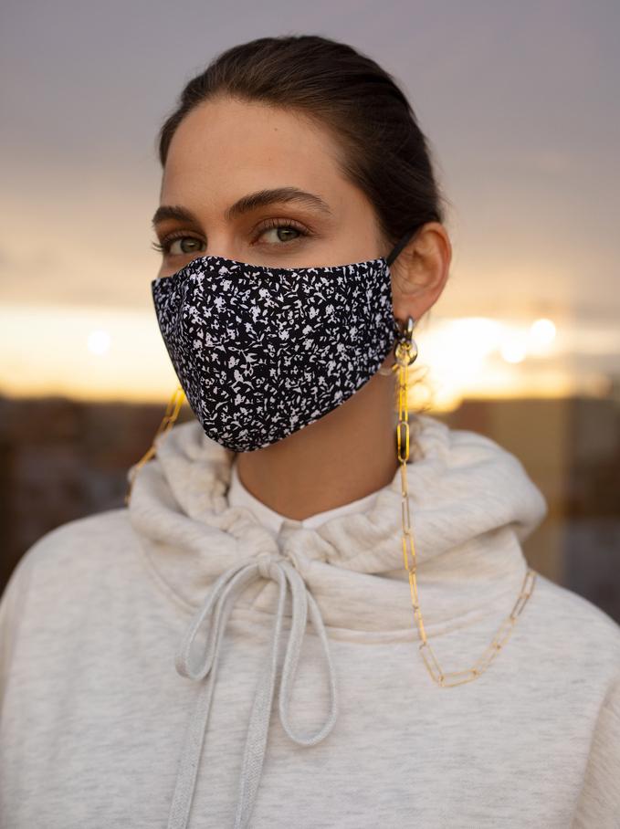 Masque Imprimé Réutilisable, Noir, hi-res