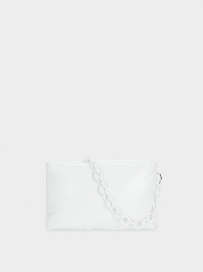 Quilted Handbag With Double Strap, White, hi-res