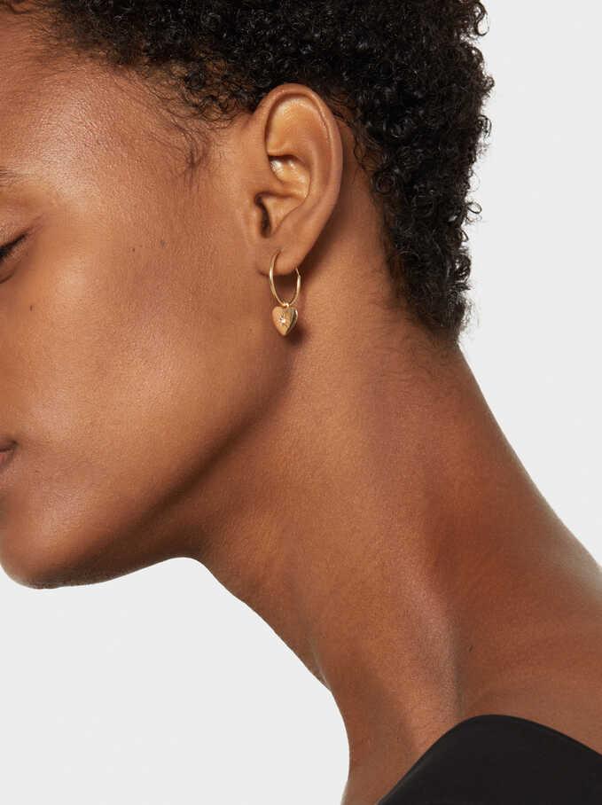 Small 925 Silver Hoop Heart Earrings, Golden, hi-res