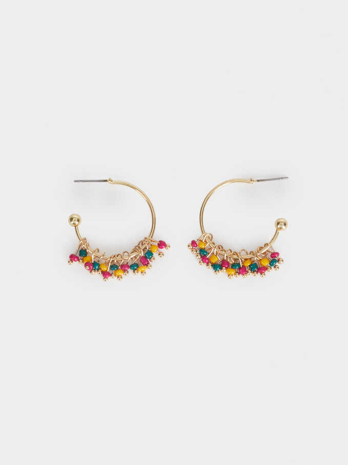 New Age Small Hoop Earrings With Beading, Multicolor, hi-res